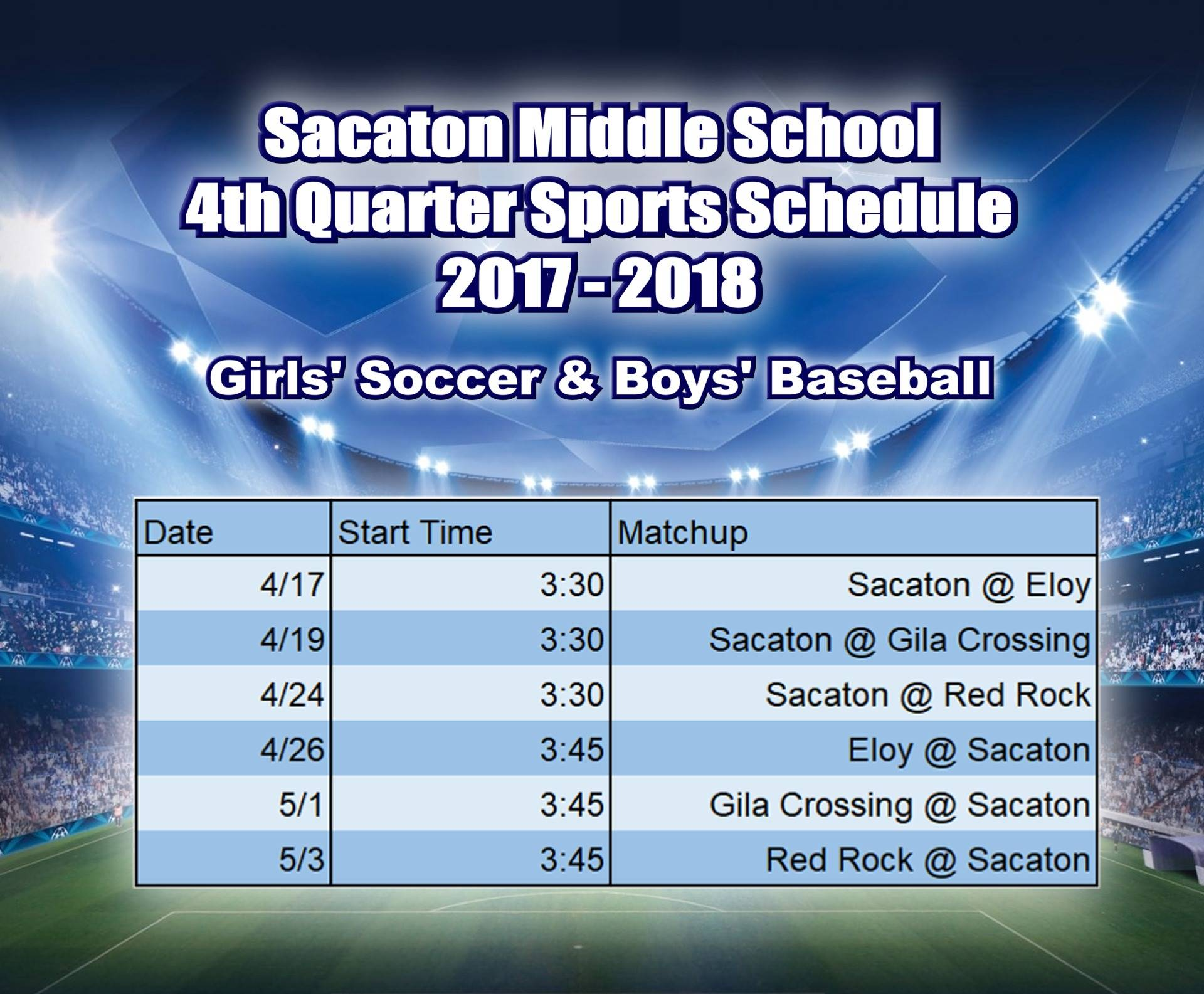 4th Quarter Sports Schedule